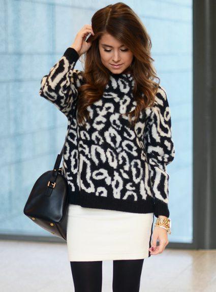 leo sweater & white mini