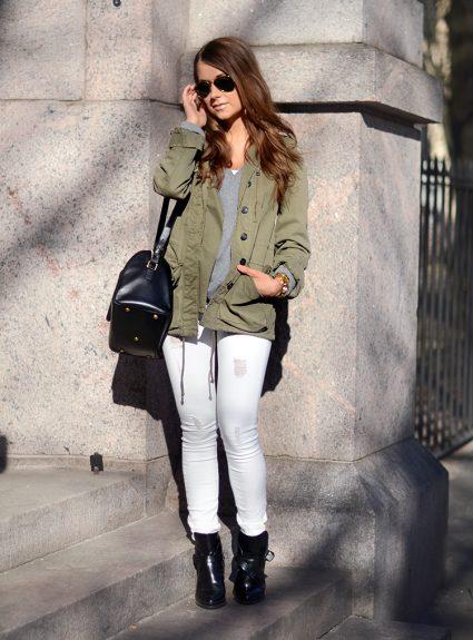 fresh white & army green